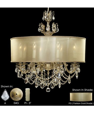 Shown in Antique White Glossy finish with Clear Precision Pendalogue crystal, Parisian Gold shade and Pale Ivory Wax Candle Cover