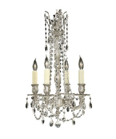 Shown in Satin Nickel finish with Oval Precision Crystals and Pale Ivory Beeswax Candle Cover With Drip