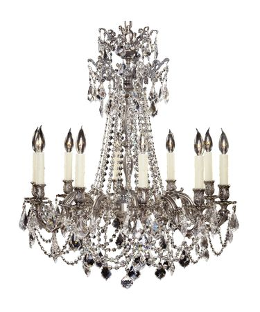 Shown in Antique Silver finish with French Pendaloque Precision Crystals and Pale Ivory Beeswax Candle Cover With Drip