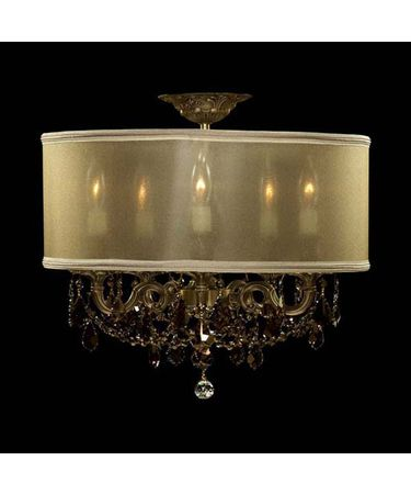 Shown in Antique Black Glossy finish with Golden Teak Strass Pendalogue crystal and Parisian Gold shade