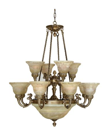 Shown in Antique Brass finish, Iltalian Light Cream glass and White Hard Back Fabric shade