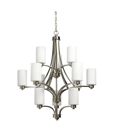 Shown in Polished Nickel finish and White glass
