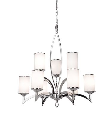 Shown in Polished Chrome finish and Opal White glass