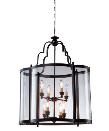 Shown in Oil Rubbed Bronze finish, Clear glass and White Linen shade