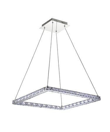 Shown in Polished Chrome finish, Polished Leaded crystal and White String shade