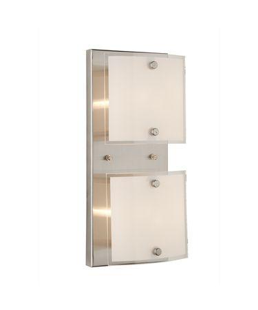 Shown in Brushed Nickel finish and Frosted with Clear Border glass