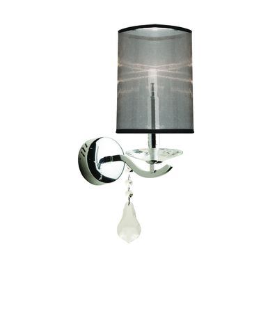 Shown in Chrome finish, Pure Crystal Droplets crystal and White organza shade