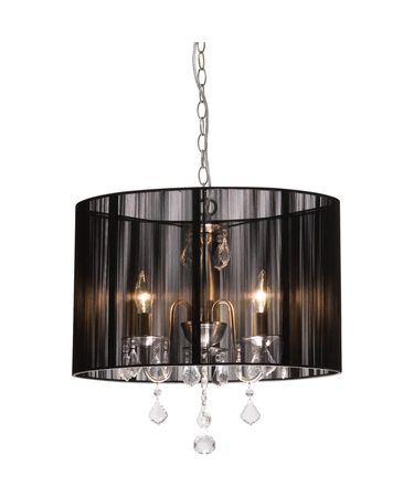 Shown in Black finish, Black Oval shade and Crystal Bobeche accent