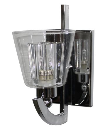 Shown in Chrome finish and Clear with A Polished Crystal Glass Insert glass