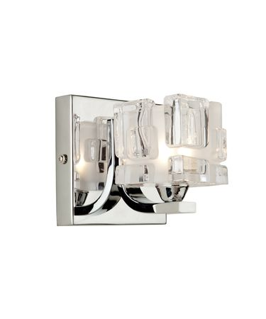 Shown in Chrome finish and Square Frosted and Clear glass