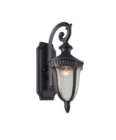 Shown in Graphite finish, Clear Seeded glass and Black Hard Back Fabric shade