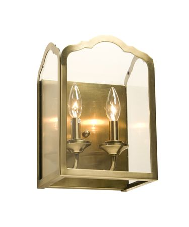 Shown in Satin Antique Brass finish and Beveled glass
