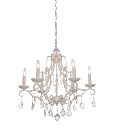 Shown in Antique White finish, Pendalogues crystal and Oatmeal Linen shade