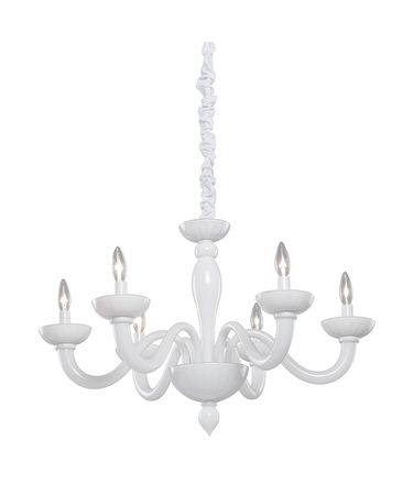 Shown in White finish, Milk Glass glass and White Organza shade