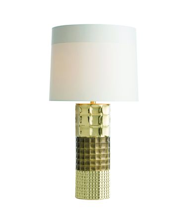 Shown in Polished and Antique Brass finish and Ivory Microfiber shade