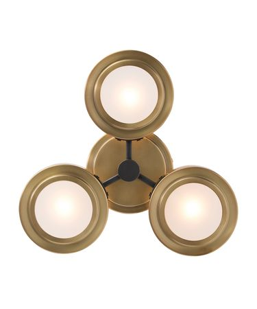 Shown in Antique Brass finish, Frosted glass and Bronze accent
