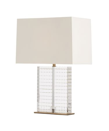 Shown in Clear-Antique Brass finish and Ivory-White Microfiber Hardback shade