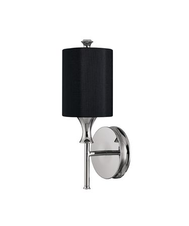 Shown in Polished Nickel finish and Black Fabric shade