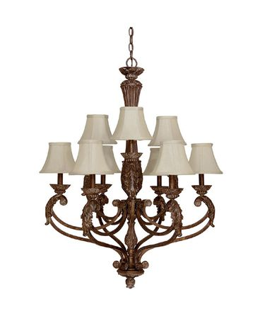 Shown in Gilded Bronze finish and Fabric shade