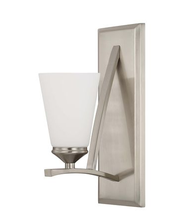 Shown in Brushed Nickel finish and Soft White glass