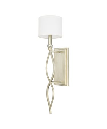 Shown in Soft Gold finish and White Fabric shade