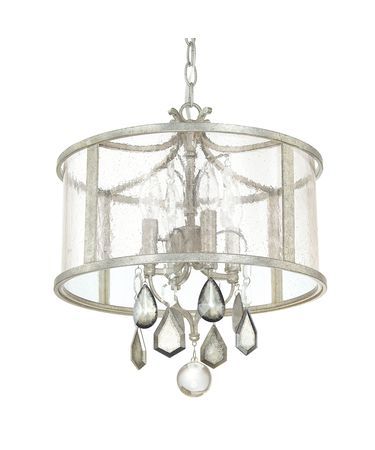 Shown in Antique Silver finish, Clear and Antique crystal and Antique glass