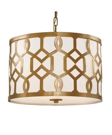 Shown in Aged Brass finish and White Linen shade