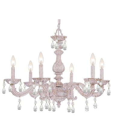 Shown in Antique White finish and Hand Polished crystal