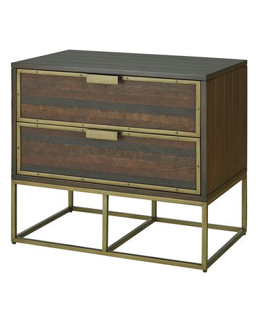 Shown in Weathered Acacia with Walnut Stain-Stained Leather-Antique Brass finish