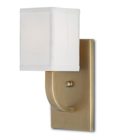 Shown in Antique Brass finish and White Linen shade