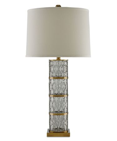 Shown in Cut Glass-Coffee Bronze finish and Off White Linen shade