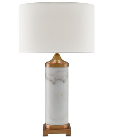 Shown in White-Antique Brass finish and White Linen shade