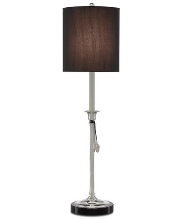 Shown in Polished Nickel-Black finish and Black Shantung shade