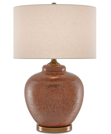 Shown in Rust-Brown-Antique Brass finish and Tan Linen shade