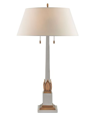 Shown in Antique Brass-Silver finish and Eggshell Shantung shade