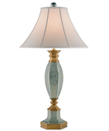 Shown in Blue Crackle with Gold-Antique Brass finish and Off White Shantung shade