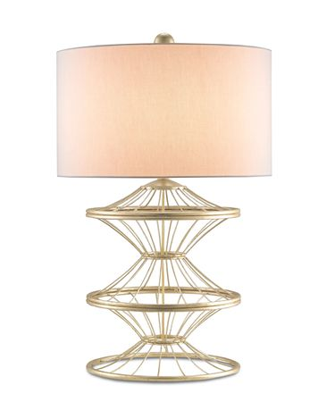 Shown in Dutch Gold Leaf finish and Off White Linen shade