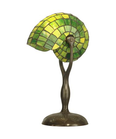 Shown in Antique Verde finish and Hand Rolled Art Glass shade