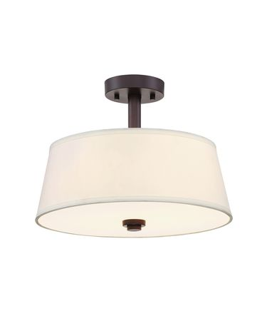 Shown in Satin Bronze finish and Off-White Fabric shade
