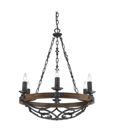 Shown in Black Iron finish and Metal Candle Sleeves glass