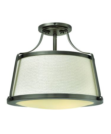 Shown in Antique Nickel finish, Etched Opal glass and Woven Off White Fabric shade