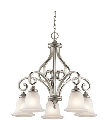 Shown in Brushed Nickel finish and Satin Etched glass