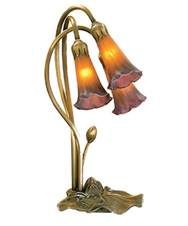 Shown in Mahogany Bronze finish and Mottled Amethyst-Amber glass