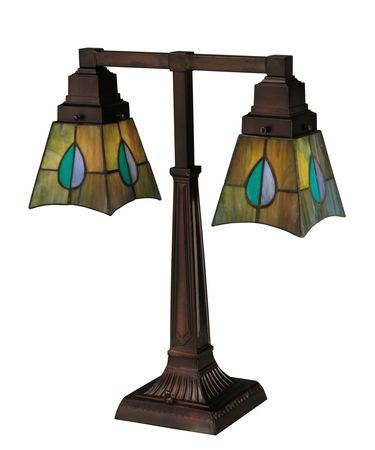 Shown in Antique Copper finish and Green-Blue Aqua-Purple glass