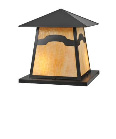 Shown in Craftsman Brown finish and Beige Iridescent glass