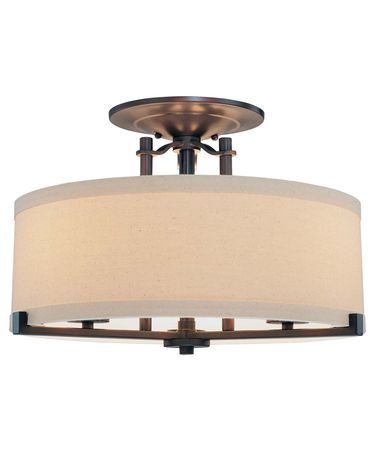 Shown in Aged Kinston Bronze finish, Etched Opal glass and Beige Linen shade