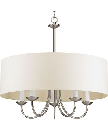 Shown in Brushed Nickel finish and Off-white Linen Fabric shade