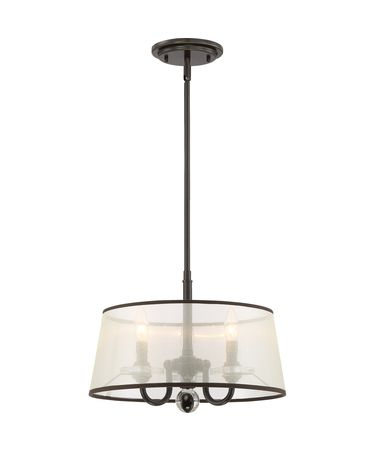 Shown in Brown finish and Light Amber Organza Shade shade