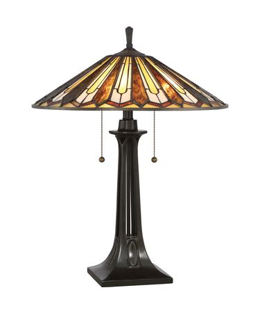 Shown in Vintage Bronze finish and Tiffany glass