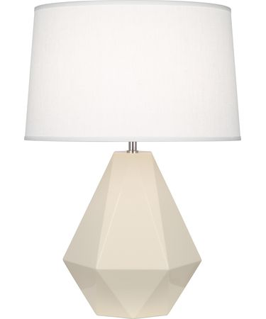 Shown in Polished Nickel-Bone finish and Oyster Linen shade